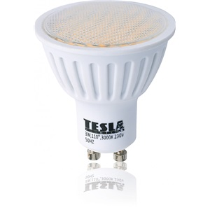 Tesla LED GU10 3W Teplá bílá 60°