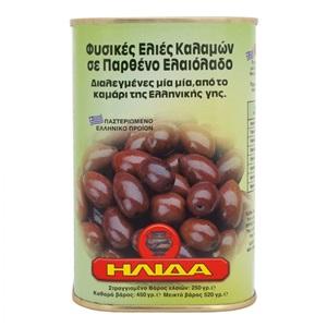 Ilida olivy černé Kalamata v olivovém oleji plech 450g