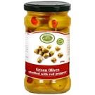 Korvel olivy zelené colossal plněné paprikou sklo 290g