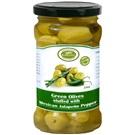 Korvel olivy zelené colossal plněné paprikou jalapeňo sklo 290g